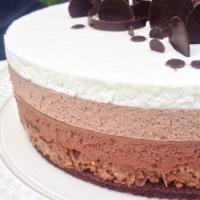 Entremets aux Trois Chocolats sur Croustillant Pralinoise