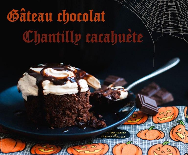 Gâteau Chocolat - Chantilly Cacahuète { vegan } Recette d'Halloween